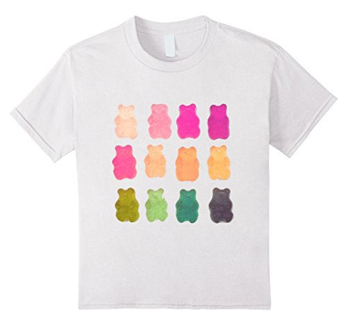 Kids Chewy Bear Shaped Gummy Candy T-Shirt Delicious Fruity Treat 10 White (Gummy Bear Shirt compare prices)
