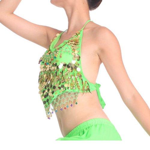 Danza imbottitocostume oro Masee del e Reggiseno con ventre accessoriprezzopezzo Veni verde paillettes P8nw0Ok