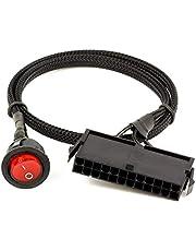 Camisin 24-stifts hona ATX PSU PC strömförsörjning starttestare starta upp jumper Ridge kabel med på/av-knapp, 50 cm
