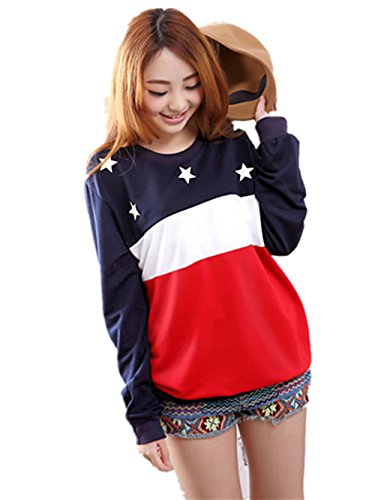 AIMTOPPY Star Sweatshirt Long Sleeve Thicken Loose Blouse Warm Womens Tops (xxl, (Star Tiered Dress)