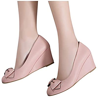 YiYLunneo Womens Wedge Pumps Heel Shoes Slip On with Bow Mother of Brige Shoes Wedding Office BusinessSingle Shoes: Clothing