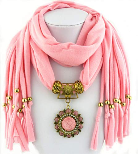 Fashion Stone Flower Pendant Scarf with Two Ending Jewelry Total Solid Scarf 2 One Size by Chic-Dona