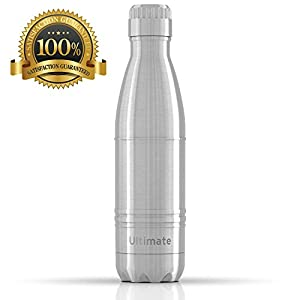 Ezisoul Insulated Stainless Steel Sports Water Bottle - No Leaks, Sweating or Toxins - Brushed Stainless Steel - 25oz