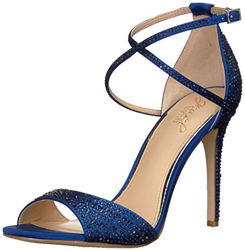 Jewel Badgley Mischka Women's DILLON Sandal, blue satin, 7.5 M US