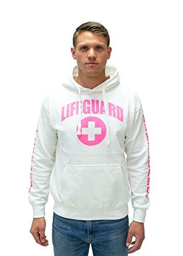 - LIFEGUARD Hoodie - White Pink Sweatshirt Apparel for Women, Men, Teens, Girls.