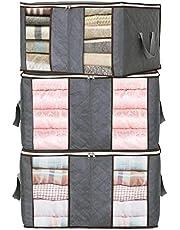 JSENGE Pudełko do przechowywania materiał z pokrywką, worek do przechowywania ubrań, składane, pudełka do przechowywania pościeli, kołdry, 3 szt