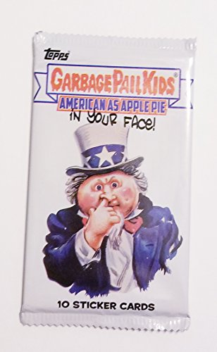 Patriotic Gift Pail - GARBAGE PAIL KIDS: AMERICAN AS APPLE PIE IN YOUR FACE! (10 STICKER CARD PACK)