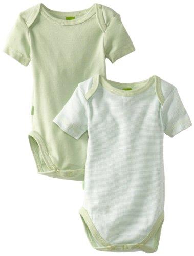 Kushies Unisexbaby Newborn Everyday Mocha Layette 2 Pack Short Sleeve Bodysuit, Sage Solid/Stripe, 9 Months (Green Layette)