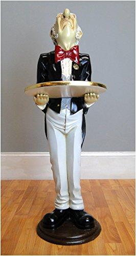 The Kings Bay Snobby Butler Statue 3' Wine Waiter Gold Leaf Tray in Tuxedo Restaurant Bar ()