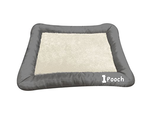 Dog or Cat Pet Bed Rectangle Plush Cuddler, 22″ x 18″ Black and Gray (24-Inch, Grey)