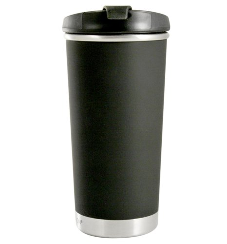 Liquid Solution Frosty Zef Tumbler with Threaded Lid (Black, 10-Ounce) ()