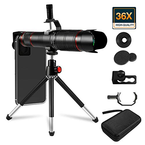 36X Cell Phone Camera Lens, 36X Adjustable Dual Focus Telephoto Lens HD 4K Detachable Clamps Strong Tripod for iPhone XR,XS MAX,XS,X,8,7,6,6s Plus Smartphone