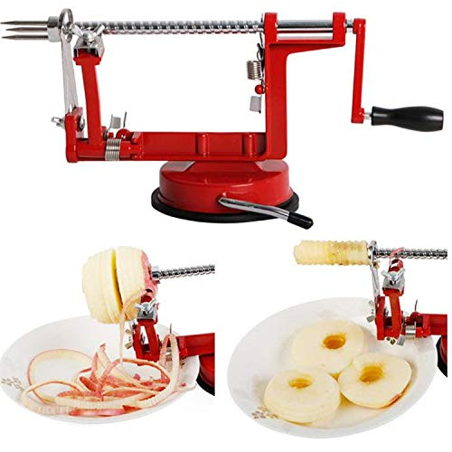 Price comparison product image Highpot Apple Peeler and Corer with Countertop Suction Cup Cast Magnesium Alloy Apple/Potato Peeler Corer for Apples,Potatoes,Pears (Red)