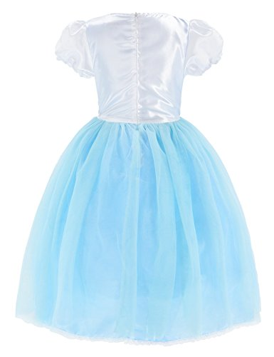 Princess Snow Queen Elsa Costumes Fancy Party Birthday Dress Up For Girls with Accessories 4-5 Years(110cm) by Party Chili (Image #5)