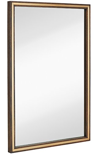 Hamilton Hills Large Metal Inlaid Wood Frame Wall Mirror | Glass Panel Brass in Walnut Brown |  Vanity, Bedroom, or Bathroom | Mirrored Rectangle Hangs Horizontal or Vertical 24