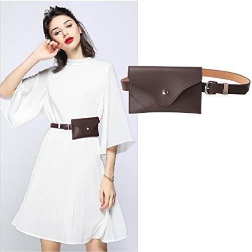 (JASGOOD Womens Leather Belt Fanny Pack With Removable Belt Tassel Waist Pouch Fashion Belt)