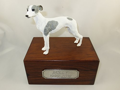 Beautiful Paulownia Small Wooden Urn with Gray & White Whippet Figurine & Personalized Pewter Engraving