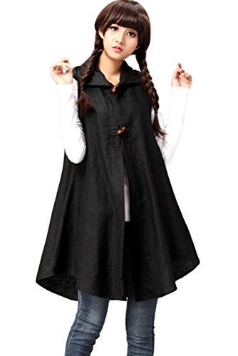 Mordenmiss Women's Contrast Color Long Waistcoat Asymmetry Hem Casual Vest (One Size, Cotton Linen Black) ()