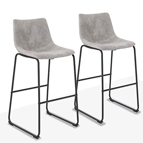 ALPHA HOME 30″ Bar Stools Bar Chair Counter Height Stools Vintage Leathaire Bar Height Stools Pub Kitchen Chairs, Dining Room Furniture – 350 lbs Capacity,Grey