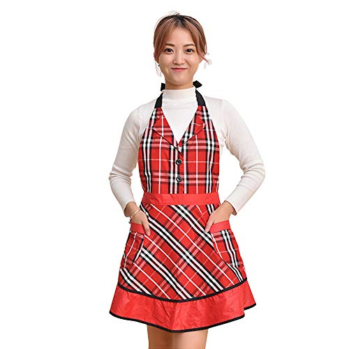 (HOMCOS Apron for Women Adjustable Check Plaid Aprons with Two Pockets&Extra-Long Tie, Red Retro Vintage Aprons for Cooking Baking Gardening Christmas Dress)