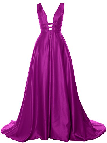 Deep Prom Formal Satin Gown Fuchsia Back MACloth V Long Ball Neck Open Dress Evening axwddIqfv