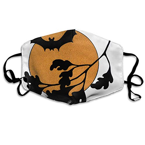 OHMYCOLOR Vintage Halloween Bat Moon Face Mouth Mask Unisex Fashion Breathable Anti-Dust Polyester Healthy Masks ()