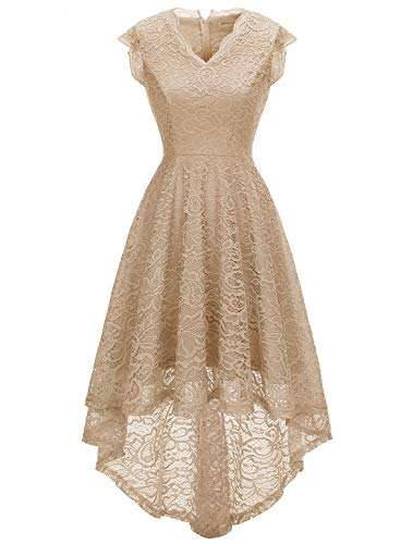 (MODECRUSH Womens Ruffle Sleeve Formal Hi Low Floral Lace Cocktail Party Dresses M Champagne)