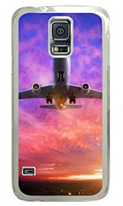 Airplane at Sunset 001 Samsung Galaxy S5 i9600 Hard Shell with Transparent Edges Cover Case by Lilyshouse