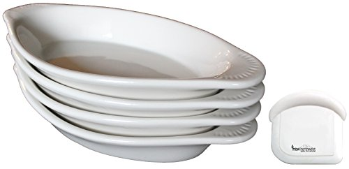 MinWill Brands Ceramic Oval Au Gratin/Rarebit Baking Dish with Pan Scraper (4-Pack, 15 Ounce, Bone White) by MinWill Brands (Image #2)