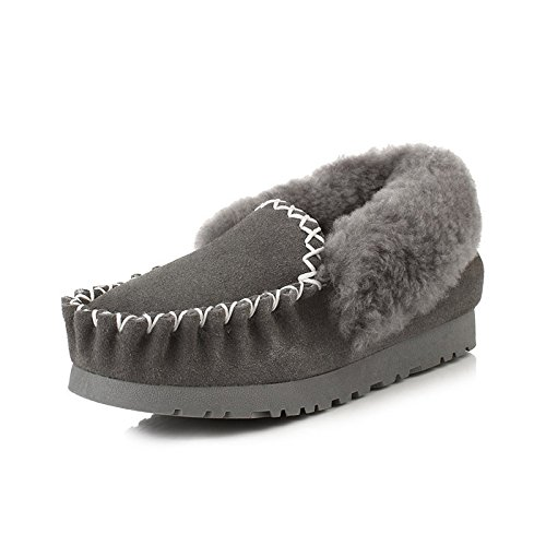 BYUYAN Stiefel Schneeschuhe Schuhe aus Baumwolle für Frauen Kurze Stiefel Winter Plus Baumwolle warme Sojabohnen Schuhe aus Baumwolle Schuhe, 40, Grau