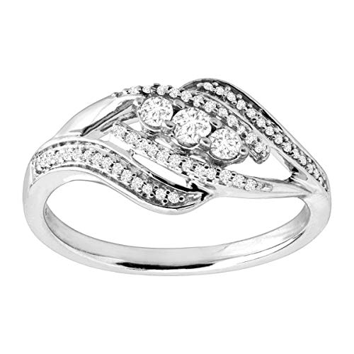 1/4 ct Diamond Bypass Ring in Sterling Silver