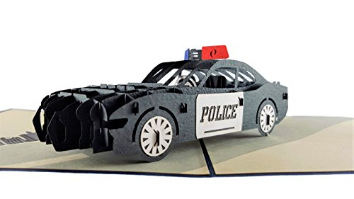 iGifts And Cards Police Car 3D Pop Up Greeting Card - Protect, Serve, Cruiser, Awesome, Wow, Half-Fold, Happy Birthday, Retirement, Congratulations, Police Academy Graduation, Thank You, Cop Promotion by iGifts And Cards