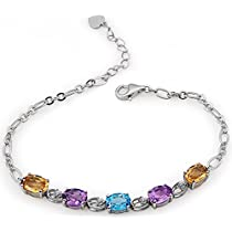 ♥Mothers Day Gift♥Natural Gemstone Topaz and Amethyst and Citrine BraceletsSterling Silver Fine Jewelry Gift for women for her