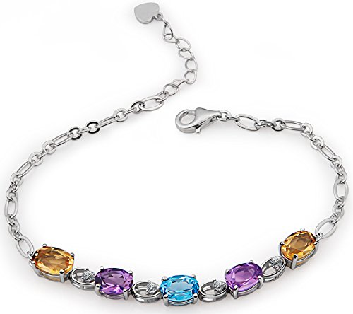 Charm Bracelet Silver Topaz - ♥Birthday Gift For Women♥Sterling Silver Bracelet Natural Gemstones Topaz and Amethyst and Citrine Charm Bracelets for Mom Fine Jewelry for Women Anniversary Gifts for Her