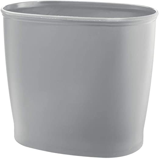 Dorms Laundry Room Black Kitchen mDesign Modern Oval Plastic Small Trash Can Wastebasket Home Office Garbage Container Bin for Bathroom