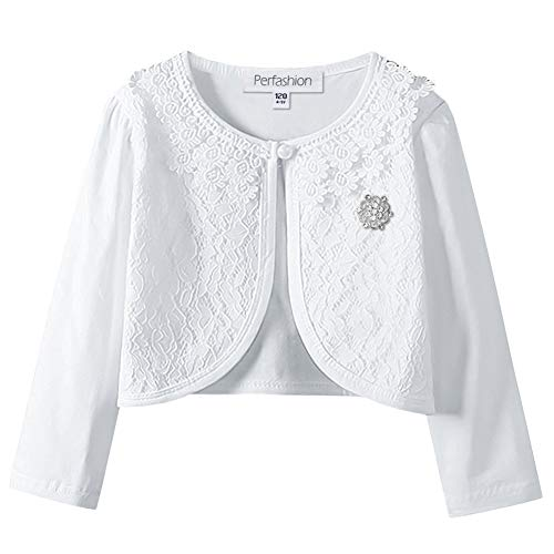 (Little Girls Lace Shrug Bolero Long Sleeve Cardigan Wedding Dress Cover Up Matching with A Chic Brooch)