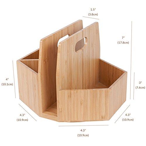 Bamboo Rotating Utensil Holder Portable Silverware Caddy, Condiment, Dining & Kitchen Organizer, Makeup Holder, Desktop, Classroom Supplies Organizer by MobileVision (Image #2)