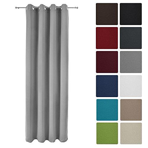 Beautissu® Blackout-Vorhang Amelie mit Ösen - 140x245 cm Grau - Verdunklungsgardine Ösenschal Fenster-Schal Blickdicht