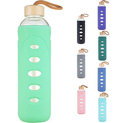DEARRAY Sport Borosilicate Glass Water Bottle with Protective Silicone Sleeve and Unique Bamboo Lid 14oz Mint