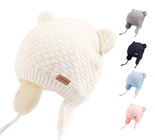 Joyingtwo Soft Warm Knit Wool Cute Bear Baby/Infant/Toddler Beanie Hat with Earflap for Winter/Autumn, White M