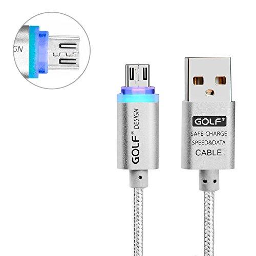Redlemon Cable Micro USB de Nylon con Leds Indicadores de Carga, para Smartphone y Tablet, Carga y Transmisión de Datos,...