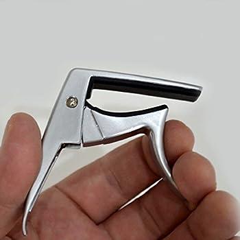 Uke Capo, Heavy Duty Ukulele Capo, Single-handed Use Uke Capo, Trigger Capo for Soprano, Toncert, Tenor, Baritone Ukulele (Silver)