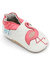 Dotty Fish Soft Leather Baby Shoes with Non Slip Suede Soles. Toddler Shoes. Animals, Flowers and Pretty Designs for Girls. Newborn to 4-5 Years