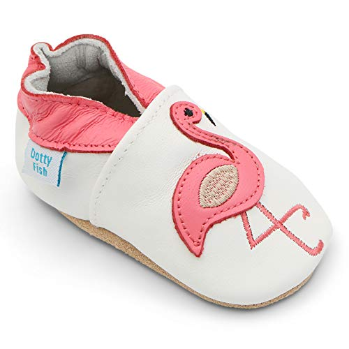Dotty Fish Soft Leather Baby Shoes for Girls. Newborn to 4-5 Years. (12-18 Months, White Flamingo)