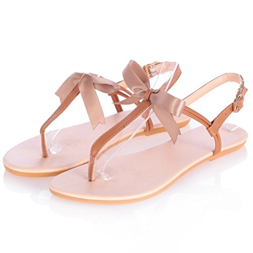 LongFengMa Ladies Fashion T Strap Sandals Thong Shoes Brown 25X17tcQB2
