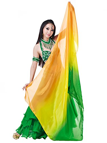 Dance Fairy Pure Silk Belly Dance Scarf/Dance Veil(Orange,Yellow and Dark Green Mixed) (Custom Contemporary Dance Costumes)