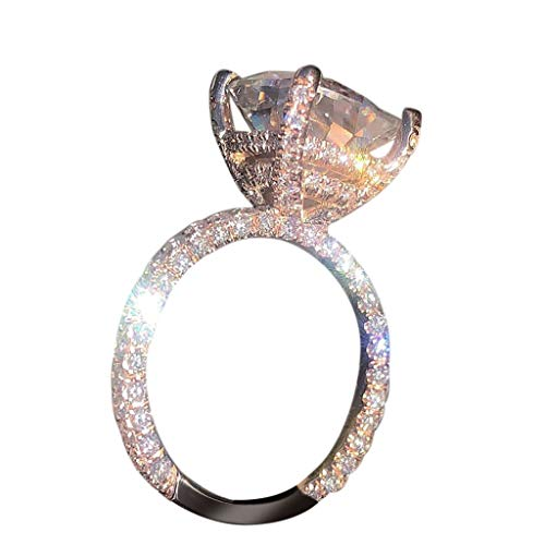 Kitt Unique Bright Zirconia Ring Luxury Three Sides Crystal Gold Wedding Ring for Women, Elegant Diamond Ring Size 6-10 (6)