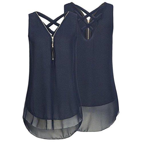 Frauen zurück Elegant Rovinci Blau Tank T Shirt Weste aushöhlen Unregelmäßigkeit Reißverschluss Bluse Ärmellos Unterhemd Hemdbluse Damen Tops V Vorne Chiffon Sommer Ausschnitt waq86