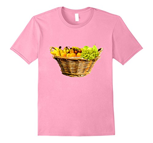 Mens Beautiful Fruit Basket t-shirt Bananas Grapes Oranges Pears Large Pink