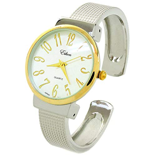 2Tone Mesh Style Band Large Dial Easy to Read Women's Bangle Cuff Watch